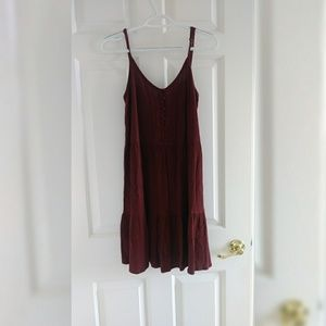 Burgandy Babydoll Dress